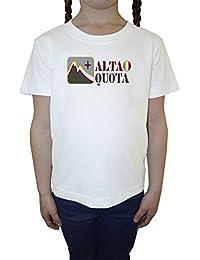 Alta Quota Niña Niños Camiseta Cuello Redondo Blanco Algodón Manga Corta Girls Kids T-shirt White