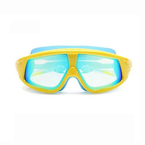 BYCSD Schwimmbrillen Kinderschwimmbrille Wasserdicht Und Anti-Fog Einstellbare Schützen Sehkraft Siamese Ear Plug Design (Farbe : Yellow-Blue Coating) 3 Ear-gels