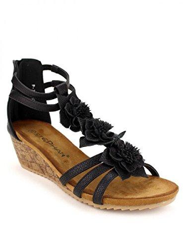 Cendriyon, Compensée Noire STEPHAN Flowers Chaussures Femme Noir