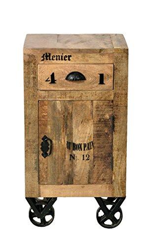 SIT-Möbel Rustic 1907-04 Kommode mit 1 Tür, 1 Schublade, aus Mangoholz, Antik, braun, Wortprints 44 x 34 x 82 cm