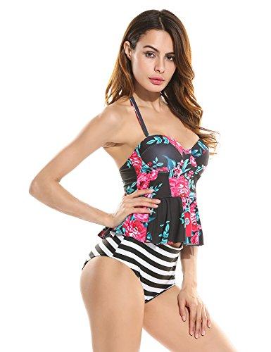 Ekouaer Damen Bikini-Set Blumendruck Bikini Träger Badenanzug Gedruckt Zweiteilig Schwimmanzug RotGrün455