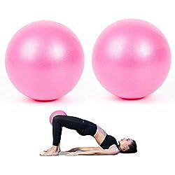 Balle de Pilates, 2 Pack Ballon Fitness Anti Eclatement Mini Ballon pour Pilates pour Yoga Exercice Thérapeutique, 23 cm