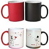YaYa Cafe Ceramic Couple Coffee Mugs (Black And Red)- Set Of 2