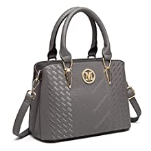 Miss Lulu Women Top Handle Bag Woven pattern and Chevron Shoulder Bag Front M Logo Handbags (6865 Grey)