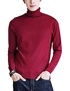 Hombre Cuello Alto Tejido Jersey Casual Top de Punto Básico Suéter