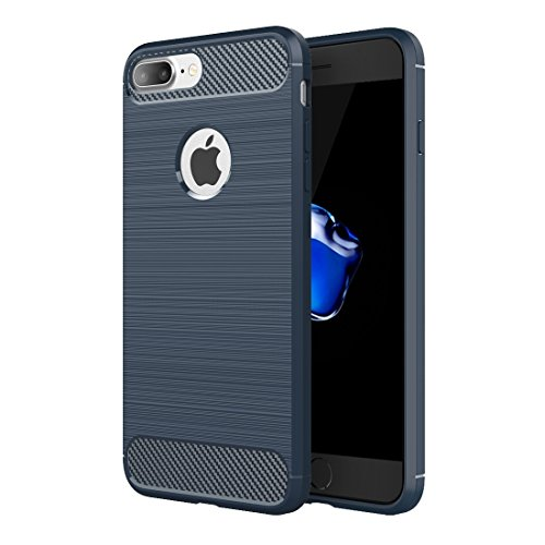 Hülle für iPhone 7 plus , Schutzhülle Für iPhone 7 Plus Brushed Texture Fiber TPU Rugged Armor Schutzhülle ,hülle für iPhone 7 plus , case for iphone 7 plus ( Color : Grey ) Dark blue