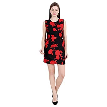 My Swag Women's Round Neck Knee Length Floral Printed A-line Dress (Small, Black & Red)