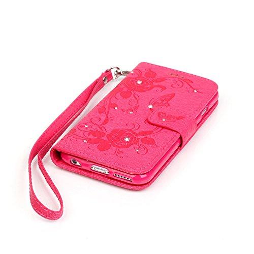 Hülle für iPhone 5s/SE Schmetterling,TOCASO Glitter Strass Bling Ledertasche Muster Weich PU Schutzhülle für iPhone 5/5S Flip Cover Wallet Case Tasche Handyhülle mit Lanyard Strap Stand Function Magne Schmetterling,rose