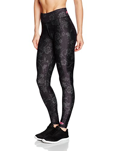 Floral Print Leggings (MusclePharm Damen Full Length Strong floral Sublimation Print Legging, Black, L)