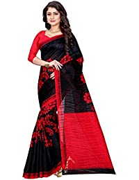 Sugathari Sarees Women's Black And Red Mysore Bhagalpuri Art Silk Saree (Bhagalpuri Sarees 49 Black Red)