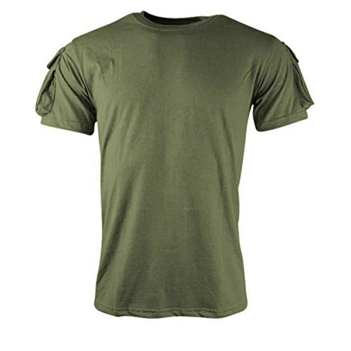 Kombat Tactical T-Shirt Green Airsoft Army Style ID Moral Panel For Patches (Pocket Heavyweight T-shirt)