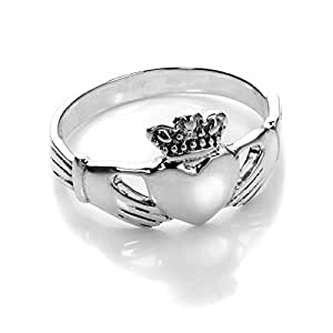 Sterling Silver Polished Celtic Claddagh Ring Size - J (J - U Available)