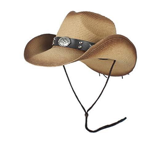 XY-women's hat Elegant Männer Sommer Stroh Cowgirl Party Kostüm Crimpen Western Hut Sombrero Hombre Cowboy Hüte for Männer Western Cowboy Hüte Stilvoll (Farbe : Khaki, Größe : (Womens Western Kostüm)