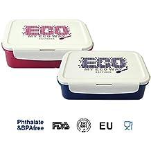 tchop2go 3compartimentos Easy Lock estanca hermética Bento caja de almuerzo comida tenedor cuchara + [1300ML/44oz/5,5taza] azul