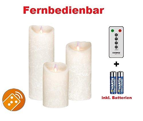 Conjunto de 3. Sompex Flame Vela de cera con LED velas con mando a distancia (esmerilado blanco Frost V14blanco, Color blanco esmerilado) 8x 12,5cm x 8cm x 18cm x 8cm x 23cm con mando a distancia y pilas 6Bundle incluye mando a distancia y baterías (Set de 3)