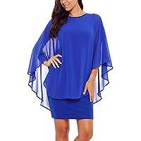 فستان نسائي قصير من الشيفون بأكمام مكشكشة للحفلات وحفلات الكوكتيل من SEBOWEL -  X-Large ازرق