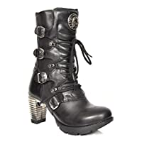 New Rock Womens Lace up Gothic Boots Black Leather Round Toe Calf Length Shoes