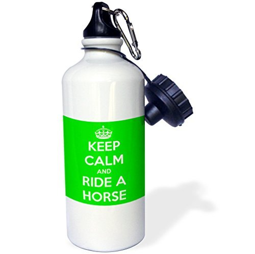 Sports Water Bottle Gift for Kids Girl Boy, Keep Calm And Ride A Horse Lime Green And White Stainless Steel Water Bottle for School Office Travel 21oz Lime Green Bottle