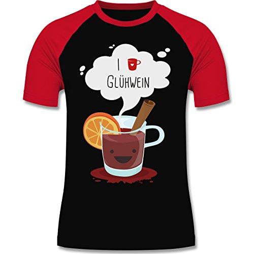 Weihnachten & Silvester - I love Glühwein glückliche Tasse - zweifarbiges Baseballshirt für Männer Schwarz/Rot