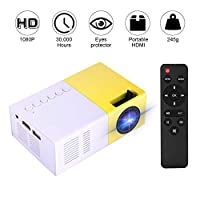 Garsent Mini Projector, 1500 Lumens Portable Video Projector LED Support HD 1080P HDMI USB VGA AV SD Cinema Projector Compatible with iPhone iPad Smartphone TV Xbox PC.(Yellow)