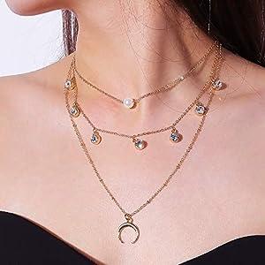 XUHAHAXL Halskette/Persönlichkeit Übertrieben Zubehör, Legierung Anhänger, Fransen Halsketten, Multi Halskette Halskette