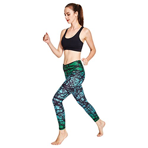 COOLOMG Damen Leggings Yoga Capris Lang Hosen Kompression Sport Trainingshose S M L XL Wald grün