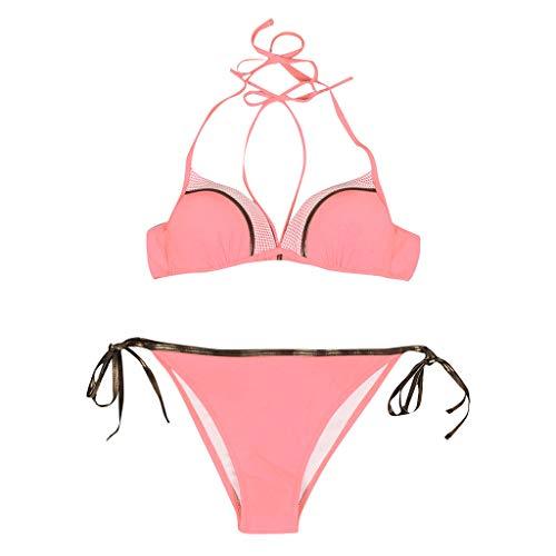 Bikini Halfter Frauen Set Triangle Bottom Beachwear Einfarbige Bade Frauen Bade Zweiteilige Bade Tankini Bikini Damen Bade Beachwear Plus Size Bikinis Damen Bade swimsuit swimanzug swimwear