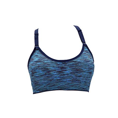 Dexinx Traspirante Reggiseno Antiurto Flessibile per Donna Peso Leggero Tops Sportivo per Fitness Blu