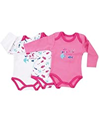 "Jacky Baby - Mädchen Body langarm 3er-Pack ""funny fishes"" rosa 151677"