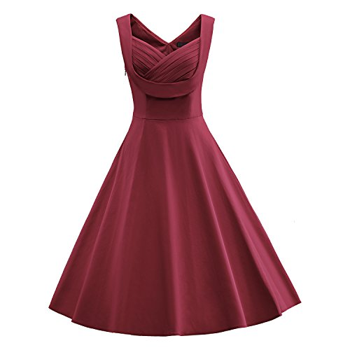 LUOUSE Damen Ärmellos Sommerkleid 1950er Retro Polka Dots Cocktailkleid Petticoat Faltenrock Kleid Blau/Rot Größe 36-44 Rot - Weinrot