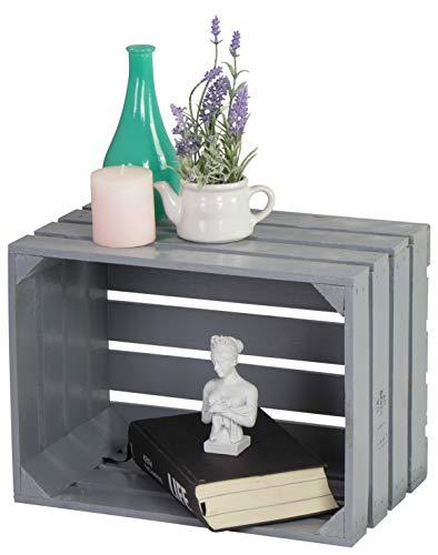 LAUBLUST Vintage Holzkiste - 40x30x25cm, Grau Lackiert - Möbelkiste | Wein-Kiste | Obstkiste | Apfel-Kiste | Dekokiste