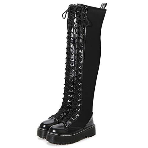 MWyanlan Thick Heel Overknee Stiefel Sexy Dame-Knight Boots Lace-Up-Seiten-Reißverschluss Art und Weise Weinlese Heighten Damen Mode-Fahrrad-Art-Partei Reitstiefel,Schwarz,39 -