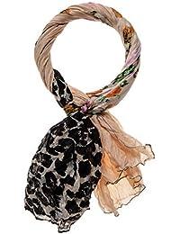 XXL Viskose Schal Tuch animal Print Leopard Leo seitlich rot grüner Streifen Neu