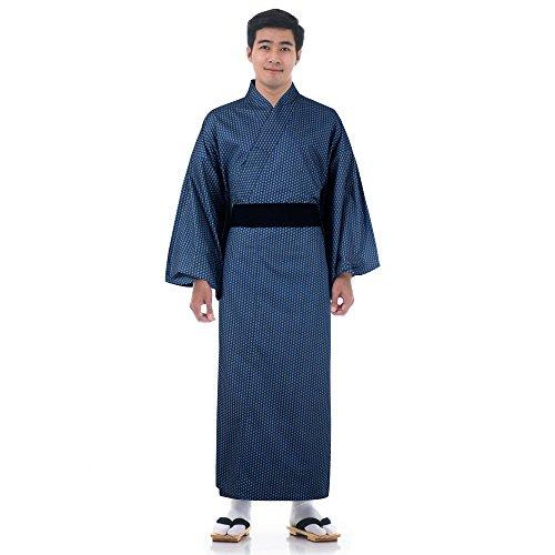 Japanischer Herren Yukata Kimono Baumwolle One Size M L XL (Japanische Halloween Kostüme Geisha)