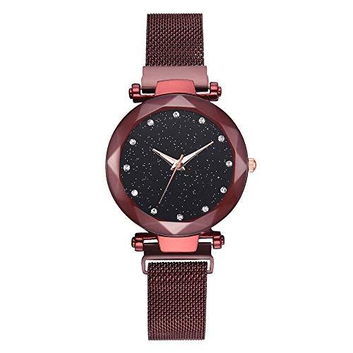 XMYL Damen Uhr Sternenhimmel Quarz Uhren Faul Dekoration Beobachten mit Magnet,Red