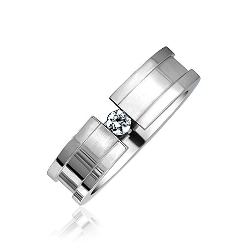 Bling Jewelry Acciaio Inossidabile scanalato anello matrimoniale Tension Set