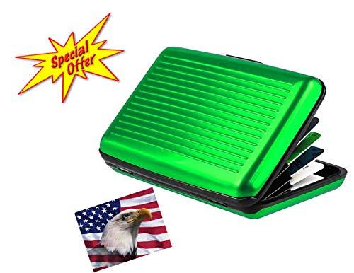 iLett Aluminium Wallet, Klein, Grün, Beständig und Karten Displayschutzfolie, RFID-Block, Kartenhalter mit 6Taschen. Ultra Slim, Tragbar, für Reisen