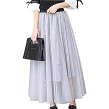 Mujeres Largo Maxi Tulle Falda Plisado Elasticidad Cintura Alta Oscilación Faldas