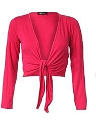 MyMixTrendz Femmes Manches longues pour femmes Tie Up Front libres Boléro Boléro Cardigan Top 8-14