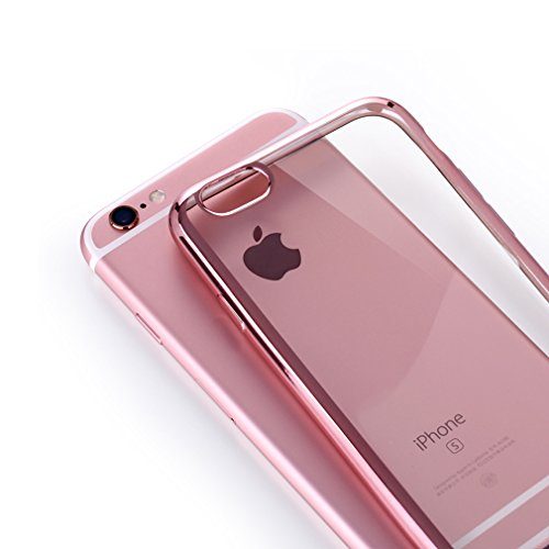 Aursen® Handy Hülle Kratzfeste Plating TPU Case Schutzhülle Atmungsaktive Folie auf Silikon Crystal Case Durchsichtig Rosa für iPhone 6 plus/ iPhone 6S plus mit 9H Hartglas Glasfolie Rosa