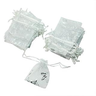 Geschenksäckchen aus Organza, Schmetterlingsmuster, Weiß, 50 Stück