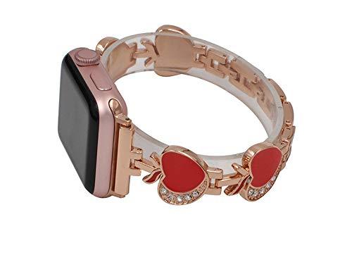 WAOTIER für Apple Watch 44mm Armband 42mm Edelstahl Armband mit Apfel Deko Muster und Abnehmbare Ketten Armband für Apple Watch Series 4/3/2/1 mit Kristaller Strasssteinen Armband (Rosegold Rot)