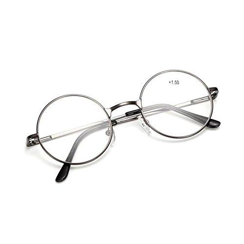 Zhuhaixmy Retro runde optische Frühling Scharnier Metall Gläser Rahmen Lesebrille/Stärke:+1.0 to +4.0