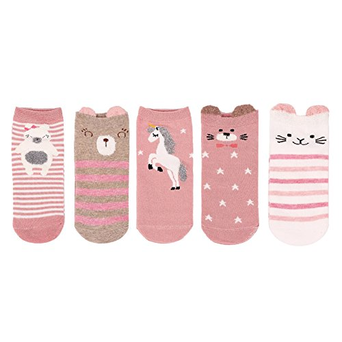 LHZY Womens Girls Low Cut No Show No Slip Cotton Ankle Socks 5 Pack,Funny Cute Cartoon Animal Design,Free Size UK 4-7/EU 35-41