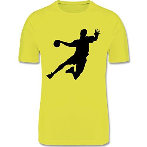 Shirtracer Sport Kind - Handball - 140 (9-11 Jahre) - Neon Gelb - F350K - atmungsaktives Laufshirt/Funktionsshirt für Mädchen und Jungen