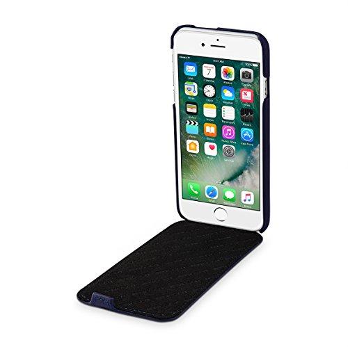 StilGut UltraSlim, housse pour iPhone 8 & iPhone 7 en cuir. Etui de protection à ouverture verticale et fermeture clipsée en cuir véritable pour iPhone 8 & iPhone 7 (4,7 pouces), Rouge nappa - collect Bleu foncé nappa