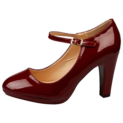 ByPublicDemand Emmeline Womens High Heel Classic Mary Jane Shoes (UK 7, Maroon Patent)