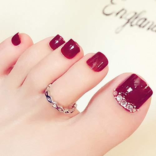Sethexy 24 Pcs 3D Bling Strass rot falsche Zehen Nägel Hochzeit Platz kurze volle Abdeckung gefälschte ZehenNägel Kunst Tipps für Frauen und Mädchen - Zehennagel-kunst