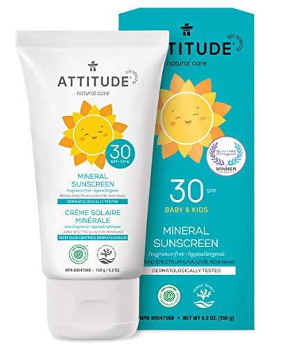 ATTITUDE duftfreie mineralische Sonnencreme für Babys & Kinder LSF 30 (1 x 150 g) -