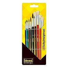 Idena 60103 School Brush Set, FSC Mix, Set of 10 with 6 Round Brushes and 4 Bristle Brushes
